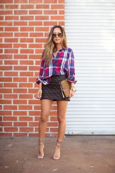 Plaid and Leather - Song of Style   Ador