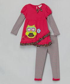 Look what I found on #zulily! Fuchsia & Black Owl Tunic & Leggings - Infant, Toddler & Girls by Rare Editions #zulilyfinds