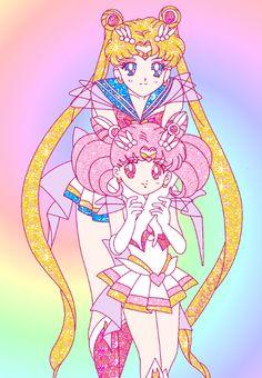 Super Sailor Moon and Chibi Moon by Sweetie Senshi - Sailor Moon fanart