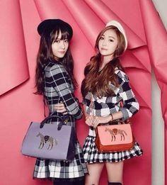Jung sisters Jessica and Krystal rock 'LAPALETTE' handbags for 'Vogue Korea' | http://www.allkpop.com/article/2015/01/jung-sisters-jessica-and-krystal-rock-lapalette-handbags-for-vogue-korea