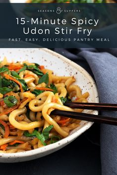 15 Minute Spicy Udon Stir Fry - Yes! Ready in just 15 minutes! Seasons and Suppers 15 Minute Spicy Udon Stir Fry - Yes! Ready in just 15 minutes! Seasons and Suppers Healthy Recipes, Vegetarian Recipes, Cooking Recipes, Vegetarian Soup, Vegetarian Dinners, Korean Beef Recipes, Asian Recipes, Udon Stir Fry, Spicy Fish Tacos