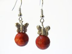 Red gemstone beaded dangling earrings of coral and Thai silver,
