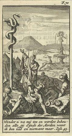 Jan Luyken | Mozes toont de koperen slang, Jan Luyken, Gijsbert de Groot, 1691 | Prent rechtsboven gemerkt: F. 70.