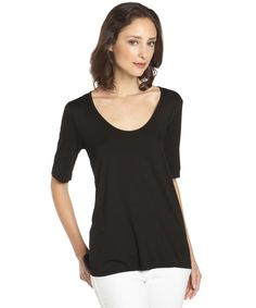 Hayden black basic jersey half sleeve tee | BLUEFLY up to 70% off designer brands