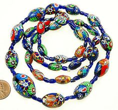 VTG 30'S ART DECO MURANO VENETIAN MILLEFIORI GLASS BEAD NECKLACE