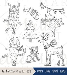 Hand Drawn Holiday Woodland Animals, Cute Iceskating Clip Art, Holiday Iceskating Clipart, Animals Iceskating Clip Art Set