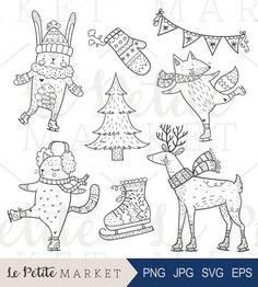 Hand Drawn Holiday Woodland Animals, Cute Iceskating Clip Art, Holiday Iceskating Clipart, Animals Iceskating Clip Art Set