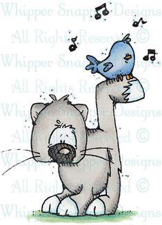 Cat Bird - Cats - Animals - Rubber Stamps - Shop