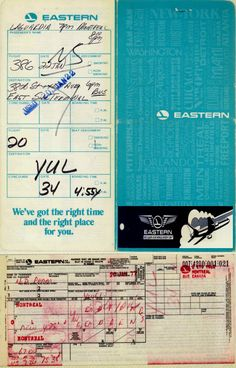 1977 - Dang's Eastern Airlines Ticket, Jacket and Baggage Tag. Montreal YUL - New York LGA - Montreal YUL