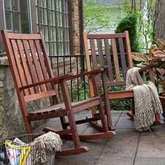 Belham Living Richmond Rocking Chairs - Set of 2 - You'll always feel at ease in the Richmond Deluxe Straight Back Rocking Chair Set thanks to the use of highly dense Red Lauan tropical hardwo. Farmhouse Outdoor Rocking Chairs, Wooden Rocking Chairs, Outdoor Furniture Chairs, Porch Furniture, Farmhouse Furniture, Fine Furniture, Rustic Outdoor Chairs, Craftsman Rocking Chairs, Furniture Design