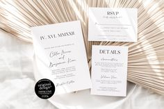 Ultra Minimalist Invitations with Roman numeral date - for a sophisticated chic wedding!