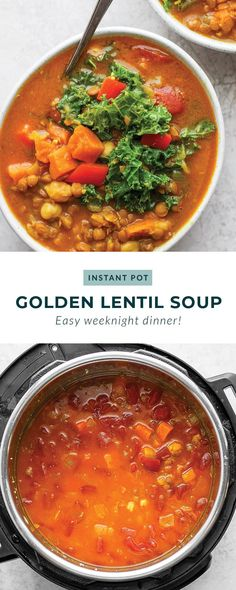 This Instant Pot Lentil Soup recipe is flavorful, packed with protein, and nutrients. This lentil soup is made in under an hour and is a great meal prep meal for the whole week. Healthy Cookie Recipes, Healthy Soups, Healthy Lunches, Clean Eating Dinner, Clean Eating Recipes, Instant Pot Steak Recipe, Cooker Recipes, Crockpot Recipes, Healthy Baked Chicken