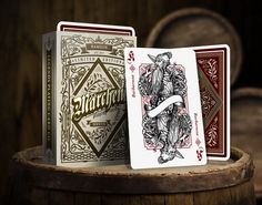 Märchen Playing Cards, printed by Legends Playing Cards. Hamelin ed. uses metallic red ink for the hearts and diamonds suits