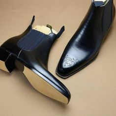 New Men's Handmade Black Brogue Leather Dress Formal Chelsea Boots sold by Leather Art Shop more products from Leather Art 2020 on Storenvy, the home of independent small businesses all over the world. Black Brogue Boots, High Ankle Boots, Black Boots, High Heels, Suede Leather Shoes, Leather Ankle Boots, Leather Men, Cowhide Leather, Black Leather