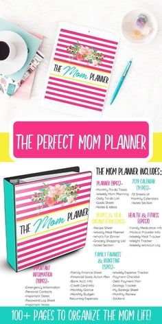 The perfect solution to organize all things mom. From creating a budget to maintaing a cleaning schedule keeping your recipes & so much more.this planner HAS IT ALL. Mom Advice, Parenting Advice, Calendar Notes, Raising Godly Children, Mom Planner, Household Binder, Organized Mom, Thing 1, Christian Parenting