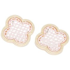 Light Pink Filigree Post Earrings from HandPicked ($10) ❤ liked on Polyvore featuring jewelry, earrings, clear crystal jewelry, post earrings, mesh jewelry, clear jewelry and mesh earrings