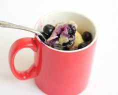 Blueberry Mug Cake - I didn't have blueberries so I used frozen blackberries. It took a little over 2 minutes but was moist and perfectly cooked.