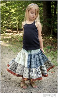 Earth and Wind Color Blocked Skirt Pattern by Pink Fig Patterns Curious Nature and Seven Wonders Fabric by Parson Gray Little Girl Skirts, Little Girls, Free Spirit Fabrics, Amy Butler, Seven Wonders, Fig, Lace Skirt, Earth, Crafty