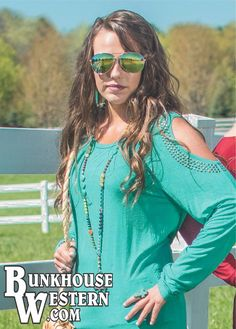 Cowgirl Tuff Company, Turquoise, Open-Shoulder, Long Sleeve Tee, Super Soft, $34.99