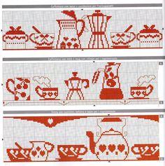 asciugapiatti monocolre rosso punto croce caffettiere tazze (1) - magiedifilo.it punto croce uncinetto schemi gratis hobby creativi