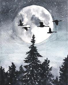 Очень атмосферный графитово-серый пейзаж и умиротворение. На Hipoco.com ловите по слову Ночь Автор иллюстрации @_baulina_. #hipoco #hipocoinspiration #ночь#иллюстрация#акварель#пейзаж#тишина#вдохновение#рисунок#скетч#природа#лес#луна#небо#мечта#монохром#watercolour#watercolor#aquarelle#forest#illustration#чехол#птицы#рисую hipoco.com