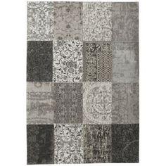 Louis de Poortere Vintage Kelim Vloerkleed Black and White 8101 - 140 x 200 cm - afbeelding 1