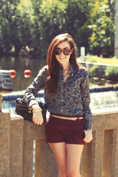 Sarah Vickers in J Crew shorts and a Jack Wills button-up