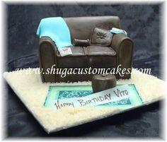 Brown leather sofa cake