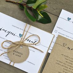 Wedding engagement invitation stationery simple white Kraft classy professional modern rustic twine tag RSVP wishing well set suite