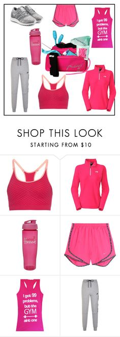 """""""Gym in pink"""" by bubble-gum04 ❤ liked on Polyvore featuring Every Second Counts, The North Face, Harrods, NIKE and adidas Originals"""