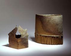 Yasuhisa Kohyama - Sculptural form no. 14 & no.3, 2007 - anagama fired stoneware