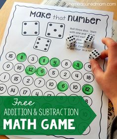 Free addition and subtraction game - The Measured Mom This free addition and subtraction activity turns learning math facts into a game!<br> This free addition and subtraction activity turns learning math facts into a game! Easy Math Games, Printable Math Games, Free Math Games, Math Games For Kids, Dice Games, Word Games, Maths Games Ks2, Cool Math For Kids, Free Printables