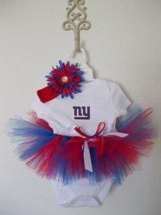New York Giants Infant Girls Crew T-Shirt & Leggings Set - Red/Royal Blue/Ash