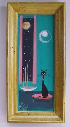 EL GATO GOMEZ PAINTING RETRO 1950s 60S EAMES KNOLL BLACK CAT MID CENTURY MODERN #Modernism