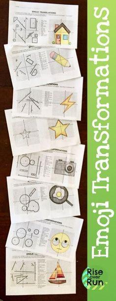 Transformations Practice Emojis Translate, Reflect, Rotate, and Dilate Math 8, 7th Grade Math, Math Teacher, Math Classroom, Math Fractions, Decimal Multiplication, Decimal Number, Teacher Stuff, Teaching Geometry