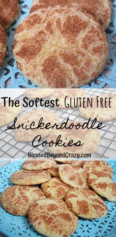 The Softest Gluten Free Snickerdoodle Cookies -You can find Gluten free cookies and more on our website.The Softest Gluten F. Cookies Gluten Free, Gluten Free Deserts, Gluten Free Cookie Recipes, Gluten Free Sweets, Foods With Gluten, Gluten Free Cooking, Gluten Free Recipes For Kids, Gluten Free Scones, Gluten Free Bakery