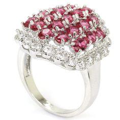 Bold Pink Raspberry Rhodolite Garnet  S/Silver Ring Sz 8 Weimaraner Rescue   #Unbranded #Cluster