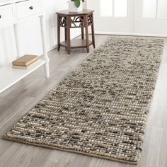 Hand-knotted Vegetable Dye Chunky Grey Blue Hemp Rug (2' 6 x 8')