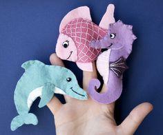 Mermaid Pet Set- Three Felt Finger Puppets