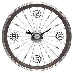 Maples ClockBike Wall Clock with Aluminum Rim in Black 32