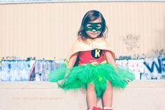 Robin Super Hero Tutu Costume inspired by Batman include tutu, shirt, cape and mask