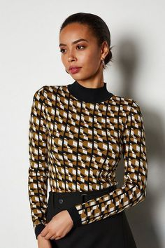 The jumper everyone will be asking about. Designed with a bold geometric pattern, it'll add interest to any knitwear collection. It come complete with a flattering contrasting collar and cuffs. Jumper, Men Sweater, Contrast Collar, Collar And Cuff, After Dark, Karen Millen, Paisley Print, Knitwear, Tricot