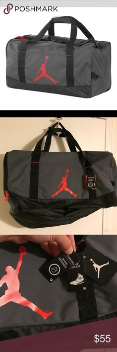 Jordan gym Rat Duffel bag NWT Head to the gym in style. With this Jordan duffel that has separate compartments for clothes and shoes you can keep your gear clean and organized an adjustable shoulder strap allows you to customize your comfort while the water resistant main paneling offers light protection. Air Jordan Bags Duffel Bags