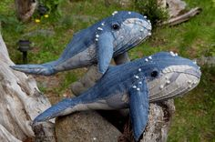 stuffed humpback whales made with jeans and french knot barnacles - no tutorial