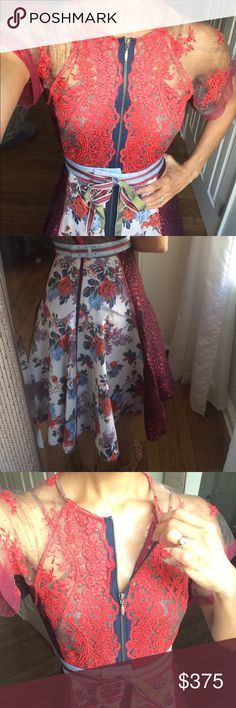 Byron Lars Red Lace Rose Dress/ More pics Detailed lace with flower print. Drop dead gorgeous. Statement dress. Walking piece of art. Truly one of Byron Lars best designs. Selling this dress for $348. Anthropologie Dresses Midi