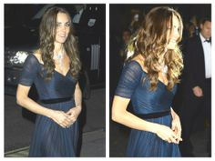 Kate attended the black tie Portrait Gala 2014 at the National Portrait Gallery in London tonight, in her role as patron. She wore a blue Jenny Packham gown with a priceless Nizam of Hyderabad necklace on loan from the Queen.