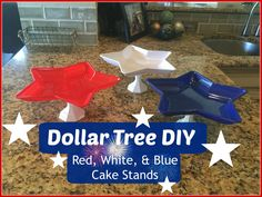 DOLLAR TREE DIY: Red, White, & Blue Cake Stands   4th of July Decor