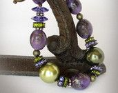 Sugulite Bracelet, Purple Bracelet with Swarovski Pearls, Crystal