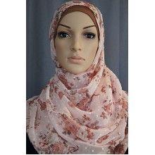 Stunning light pink floral hijab.