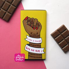 Life Is Tough Chocolate Bar #theplayfulindian #lifeistough #lifeistoughbutsoami #strong #women #feminist #strongwomen #motivation #quotes #hand #mendhi #henna #chocolate #gift #chocolatebar #positivity Restaurant Indian, We Go Together Like, Whole Milk Powder, Artisan Chocolate, Life Is Tough, Positive Messages, Powdered Milk, Chocolate Gifts, Vanilla Flavoring